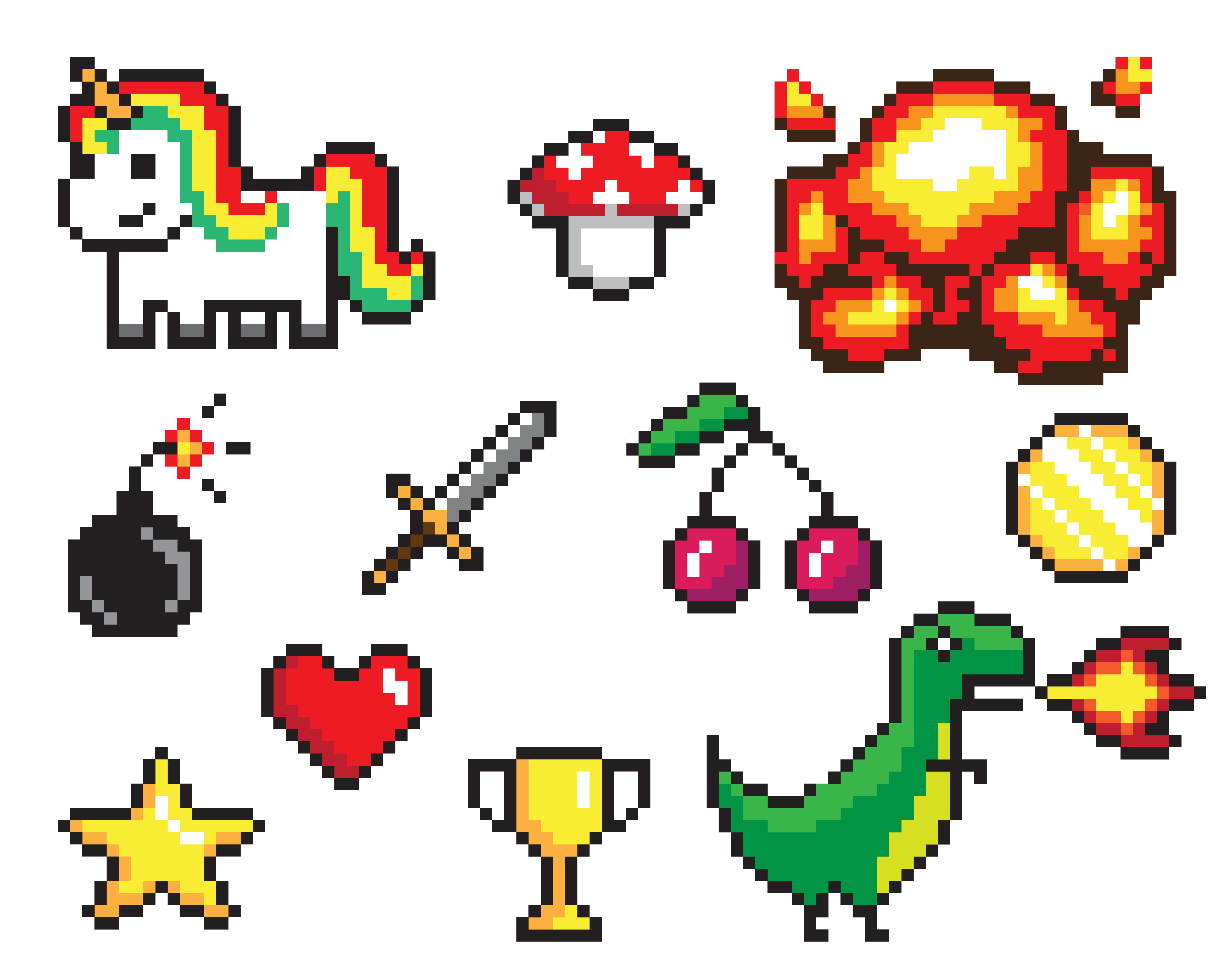 Here are some examples of objects you're bound to find in a pixel art coloring app